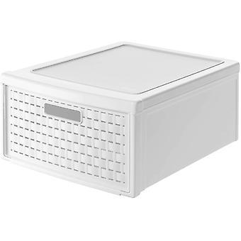 Wokex Country Schubladenbox 19,2l mit 1 Schub in Rattan-Optik, Kunststoff (PP) BPA-frei, weiss,