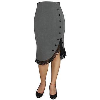 Chic Star Pinup Ruffle Skirt In Grey