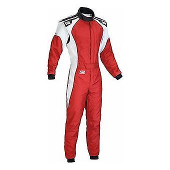Detské pretekárske jumpsuit OMP KS-3 červené/biele (140 cm)