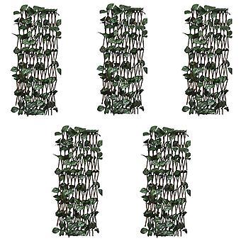 vidaXL Willow aita trellis 5 kpl. keinotekoisilla lehdillä 180x60 cm