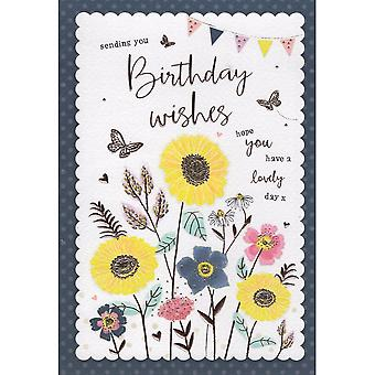 ICG Ltd Open Birthday Card Palladium Range - Yellow Flowers