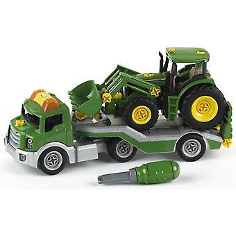FengChun 3908 - BAU- und Konstruktionsspielzeug - Transporter mit John Deere Traktor