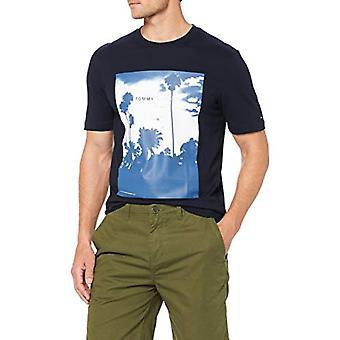 Tommy Hilfiger Palm Photo Print Relax Fit Tee T-shirt, Blue (Sky Captain 403), Medium Man