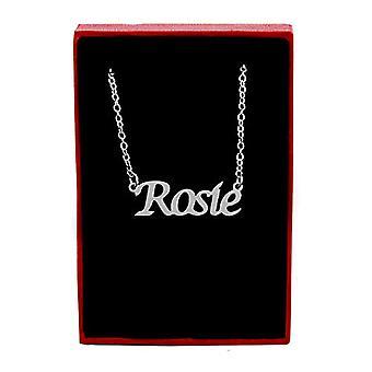 Kigu Rosie - Halsband med anpassat namn, justerbar kedja, silverförpackning