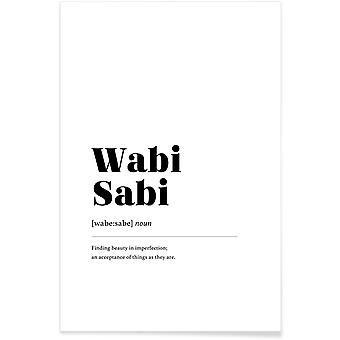 JUNIQE Print - Wabi-Sabi - Plakat typograficzny i symboli w czerni i bieli