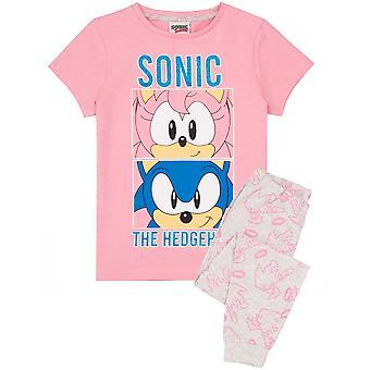 Sonic pijamale arici pentru fete | Copii Amy Rose Pink T Shirt &pantaloni lungi jambiere Pjs Set | Gamer Îmbrăcăminte Marfa