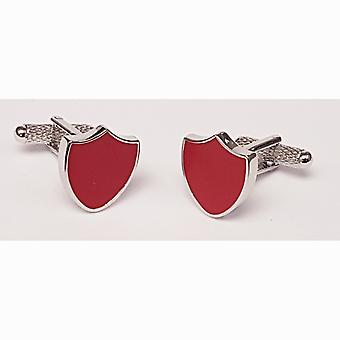 Red Shield / Crest Cufflinks - Onyx Art With Gift Box