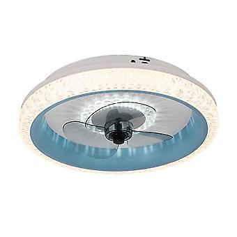50cm Smart Ceiling Fan Light Tri-color Inverter 220V Restaurant 80W LED Light Blue