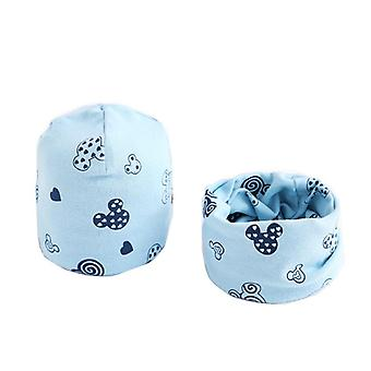 Plush Hat Scarf, Print Neck Collar, Cotton Set-14