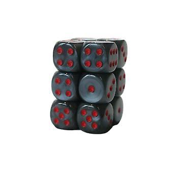 Chessex 16mm D6 Block of 12 - Velvet Black/red
