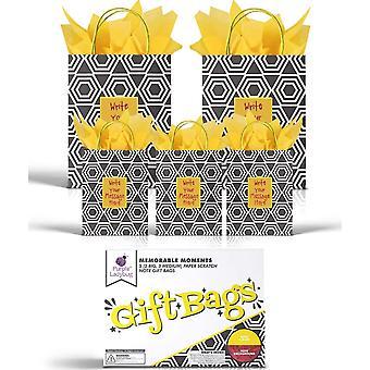 Ladybug 5 Papiertüten (Verschiedene Größen) mit Henkeln & Gelb Rubbelfeld zur Individuellen