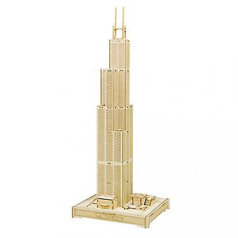 Willis Tower Color Boxed Wooden Model Stereo Puzzle