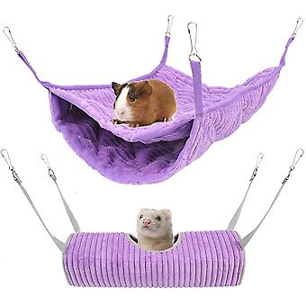 Hammock For Small Animal - Hammock Bed And Tunnel Cage - Suitable For Rat, Hamster, Squirrel, Sugar Glider, Pigs Of India, Ferret - Toy For Cage (purp