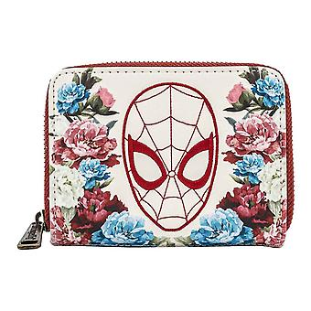 Loungefly Purse Spiderman Floral Logo new Official Marvel Zip Around