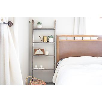 5 Step Rustic Weathered Grey Wood Ladder Shelf