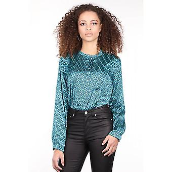 Patterned Buttoned Satin Women's Blouse