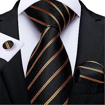 Luxus gestreift Paisley Seide Hochzeit Krawatte Dibangu Designer Hanky Manschettenknöpfe Krawatte