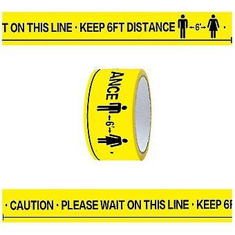 Veuillez attendre sur cette ligne, gardez du ruban adhésif de marquage au sol à une distance de 6 pieds