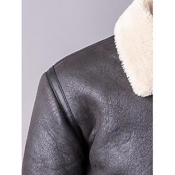 Brad Faux Sheepskin Aviator Jacket in Dark Brown
