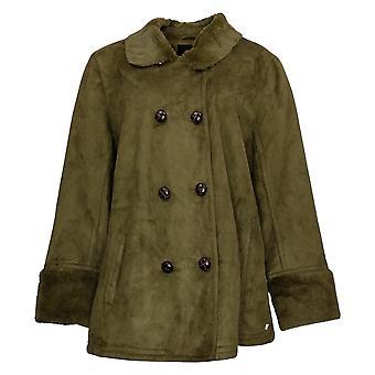 Isaac Mizrahi Live! Faux Fur Trench Jacket Dames Groen A217467