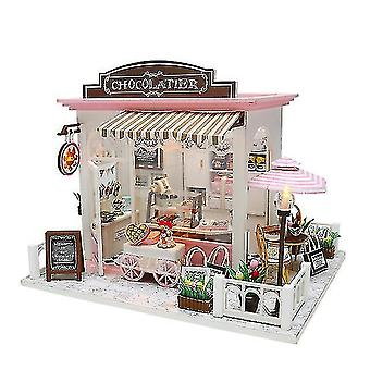Dollhouse accessories diy doll house miniature sweet chocolate waiting time store dollhouse with furnitures woodentoys for
