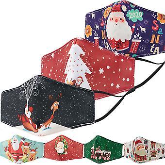 Mimigo 7pcs Kids Christmas Face Mask,christmas Print Masks Reusable Washable Kids Children Face Masks With 20 Filters
