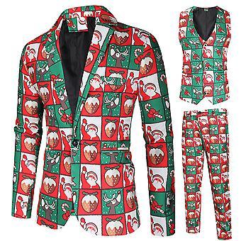Mile Men's Three-piece Suit Plaid Christmas Print Single-breasted Suit (single West + Vest + Trousers)