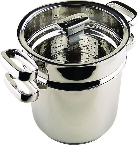 20cm STAINLESS STEEL PASTA POT STEAMER WITH GLASS LID HOME KITCHEN PROFESSIONAL