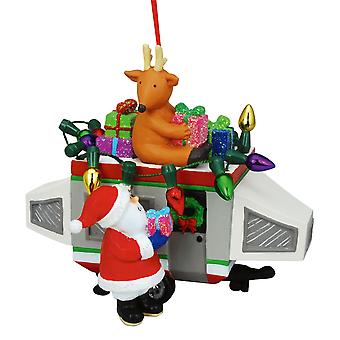 Santa Loading Gifts on Popout Camper Christmas Holiday Ornament