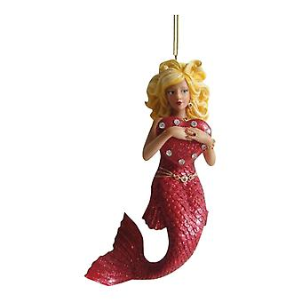 December Diamonds Valentines Day Love Red Heart Mermaid Holiday Ornament