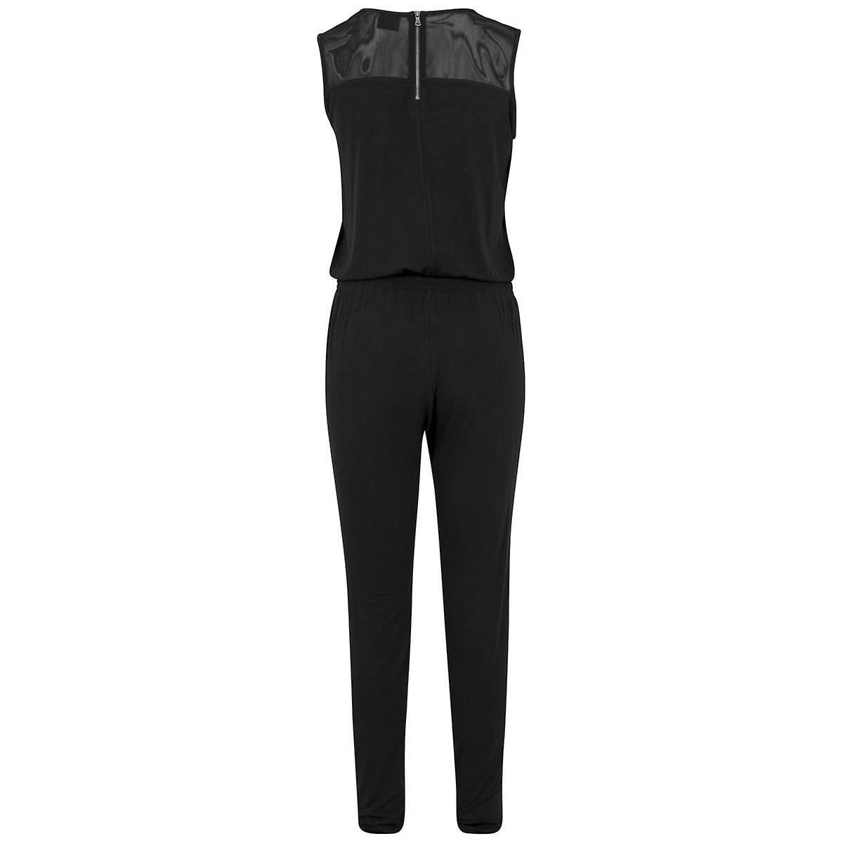 Urban Classics Ladies - TECH MESH Long Jumpsuit schwarz