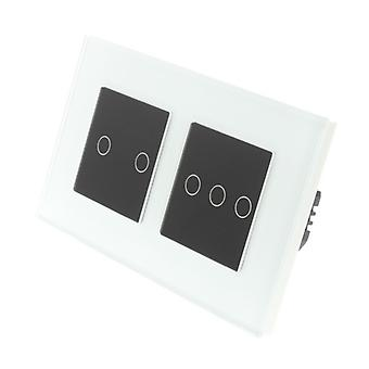 I LumoS White Glass Double Frame 5 Gang 2 Way Touch LED Light Switch Black Insert