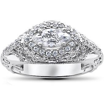 1 3/4 ct Marquise Vintage véritable diamant Engagement bague Unique Antique 14k Gold