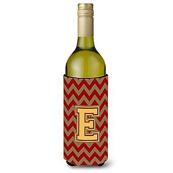 Letter E Chevron Garnet and Gold  Wine Bottle Beverage Insulator Hugger