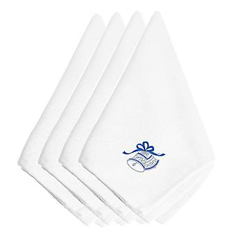 Christmas Blue and Silver Bells Embroidered Napkins Set of 4
