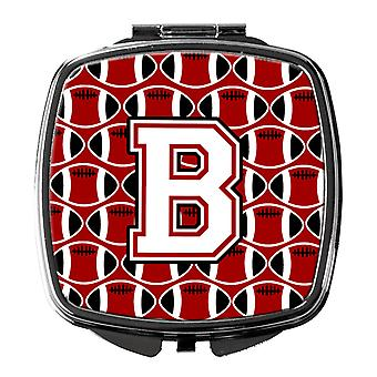 Letter B Football Cardinal and White Compact Mirror