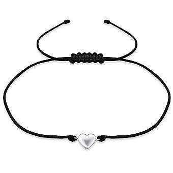 Heart - 925 Sterling Silver + Nylon Cord Corded Bracelets - W31766x