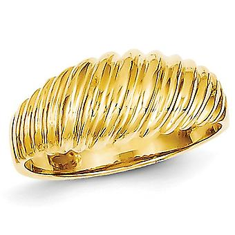 Ladies Polished Scalloped Dome Ring in 14K Yellow Gold