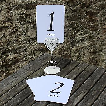 White Wedding Table Numbers - French - Single Card - 1 - 16 Black Numbers