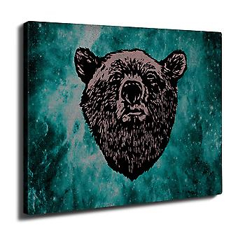 Red Bear Face Wild Wall Art Canvas 40cm x 30cm | Wellcoda