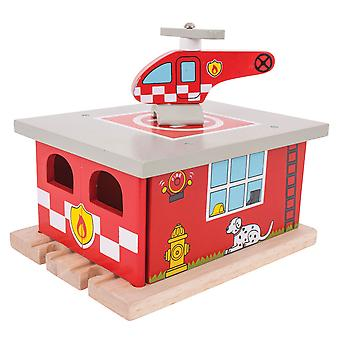 Bigjigs Rail Wooden Firestation Shed Fire Emergency Playset Railway Accessories
