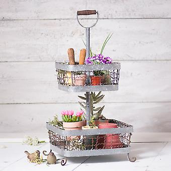 Irvin's Country Tinware 2 Tier Display in Weathered Zinc
