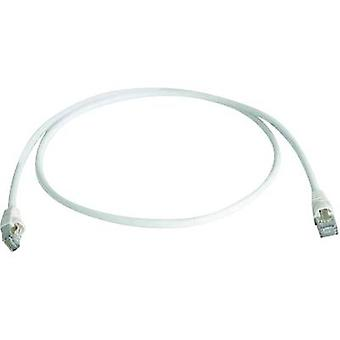 Telegärtner RJ45 Network cable, patch cable CAT 6A S/FTP 25.00 cm White Flame-retardant, Halogen-free