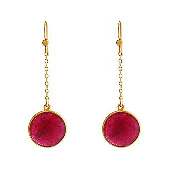 GEMSHINE women's earrings in gold plated silver yoga earrings red ruby