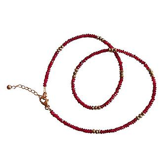 Red Ruby necklace Rubin and pyrite necklace gold plated gemstone necklace