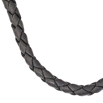 Leather chain leather necklace necklace cord black 45 cm carabiner 925 Silver