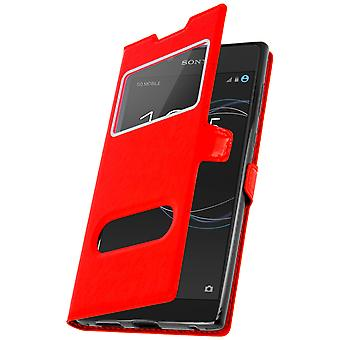 Dobbelt vindu vende stående sak for Sony Xperia L1 TPU skall - rød
