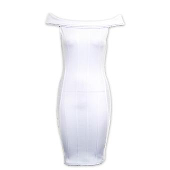 Bardot Panie Off ramię Slim Stretch Bodycon krótki kobiet sukienka w prążek