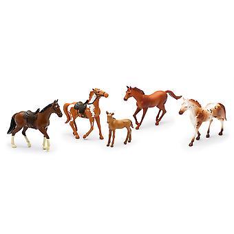 Land leven boerderij dieren Set, vijf paarden met/zonder zadels (05593F)