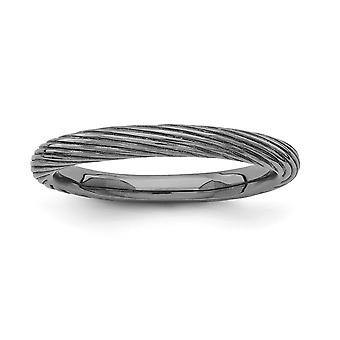 2,5 mm 925 sterling sølv ruthenium plating stables uttrykk svart belagt teksturert ring smykker gaver til kvinner - R